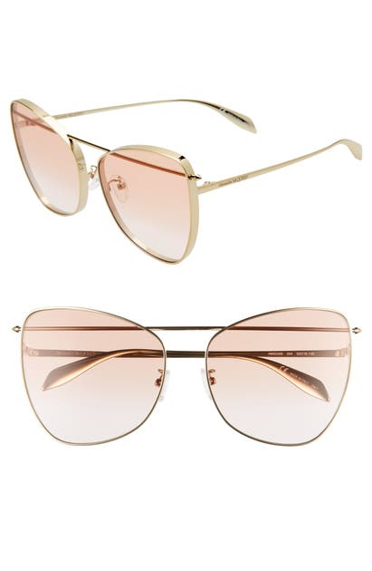Alexander Mcqueen Sunglasses 63MM CAT EYE SUNGLASSES - ROSE GOLD/ ORANGE GRADIENT