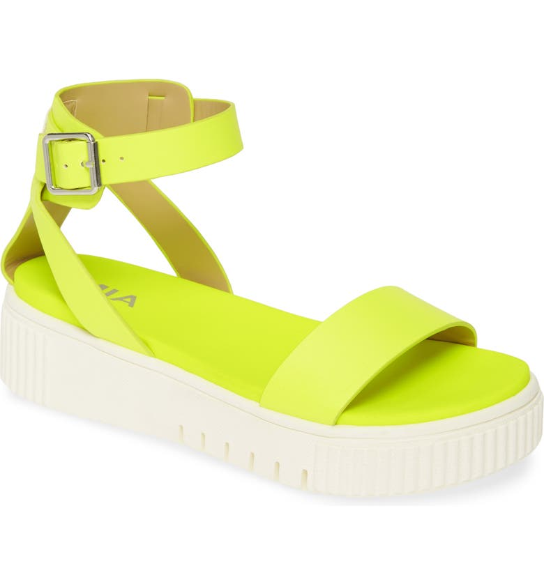 MIA Lunna Platform Ankle Strap Sandal, Main, color, NEON YELLOW LEATHER