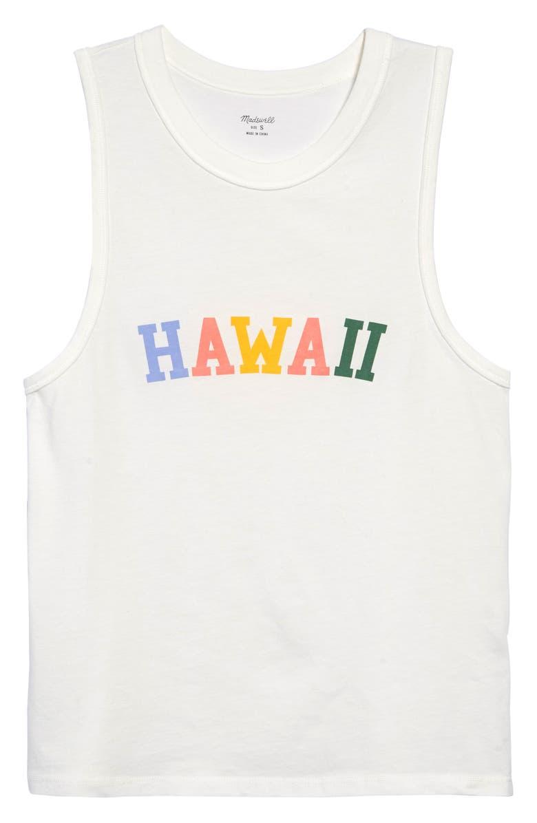 MADEWELL Hawaii Graphic Northside Vintage Muscle Tee, Main, color, WHITE WASH HAWAII VARSITY