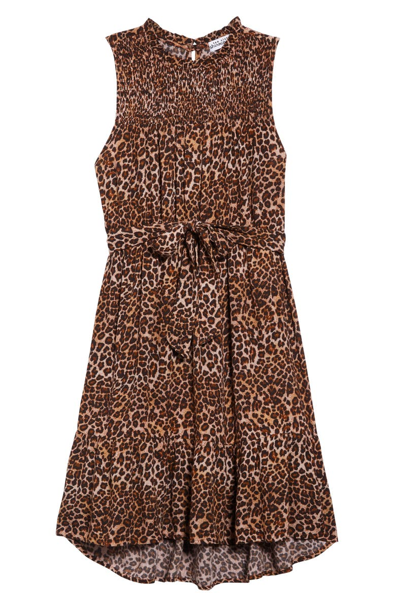 TEN SIXTY SHERMAN Smocked Leopard Dress, Main, color, TAN LEOPARD