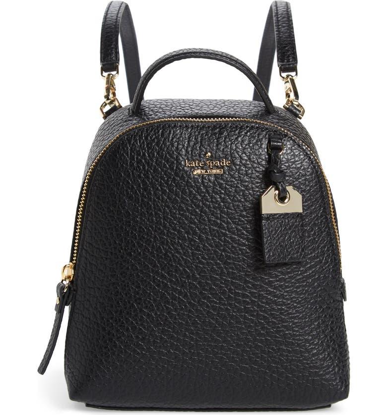 KATE SPADE NEW YORK carter street - mini caden leather backpack, Main, color, 001
