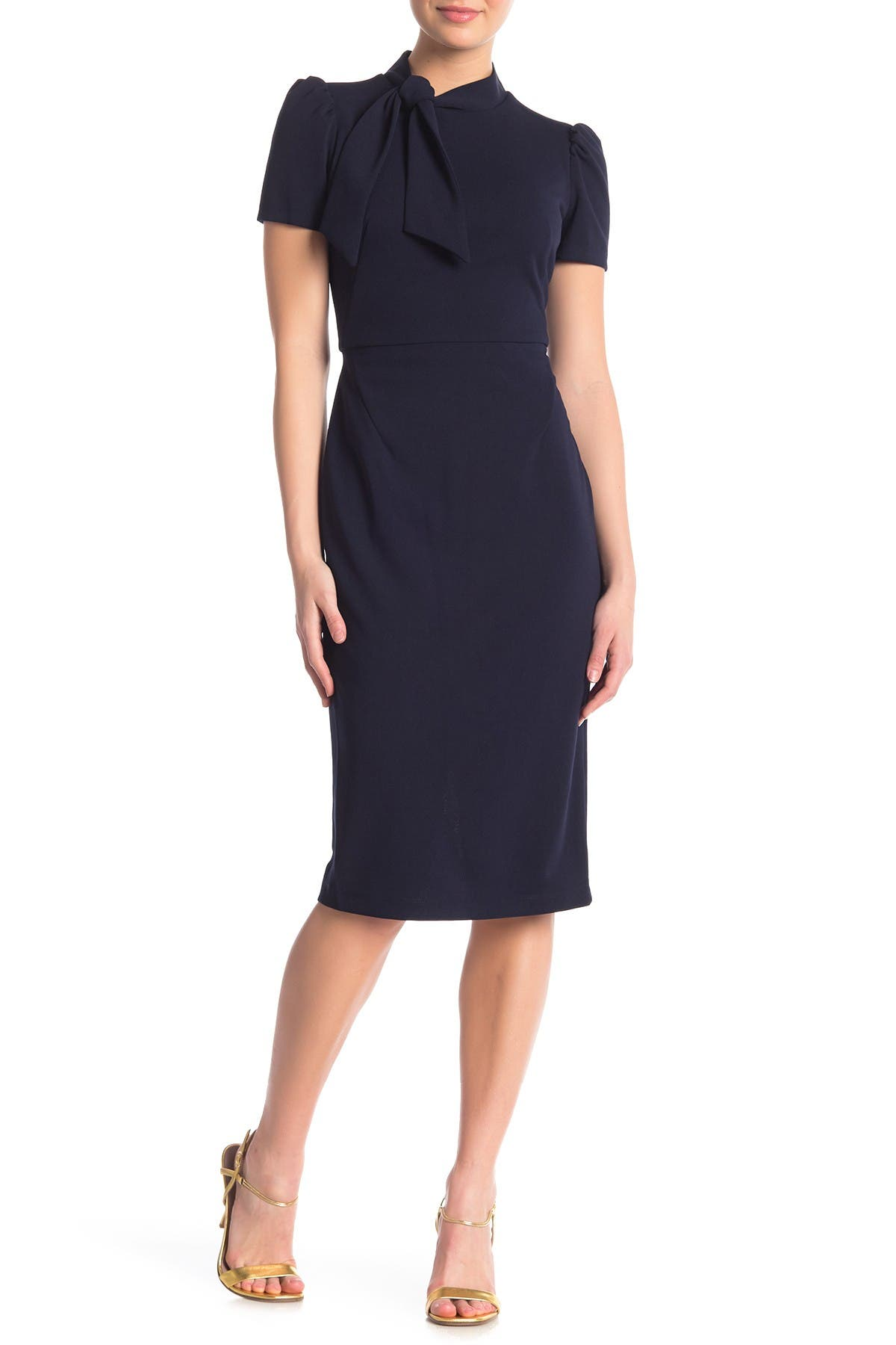 Image of Maggy London Tie Neck Puff Sleeve Scuba Crepe Dress