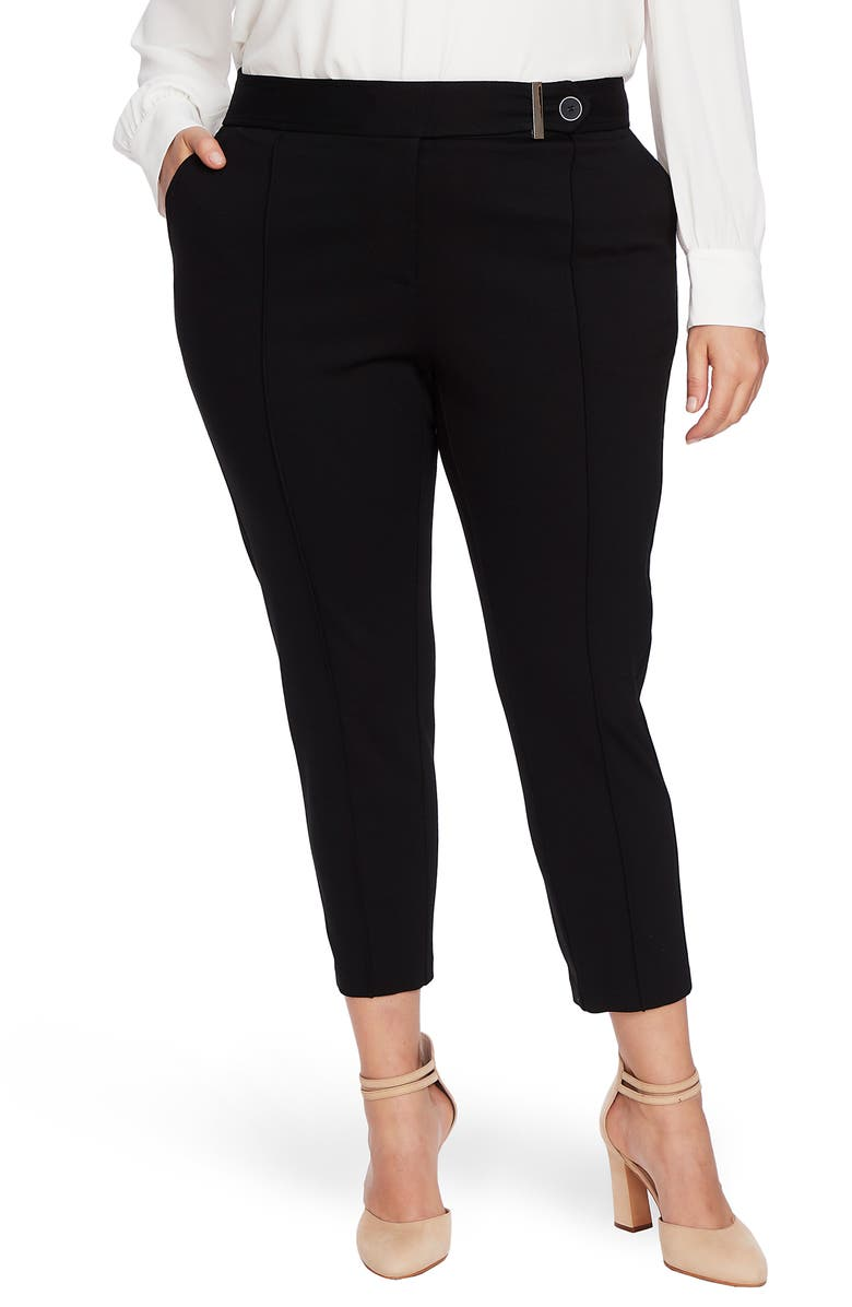 CECE Ponte Front Seam Pants, Main, color, RICH BLACK
