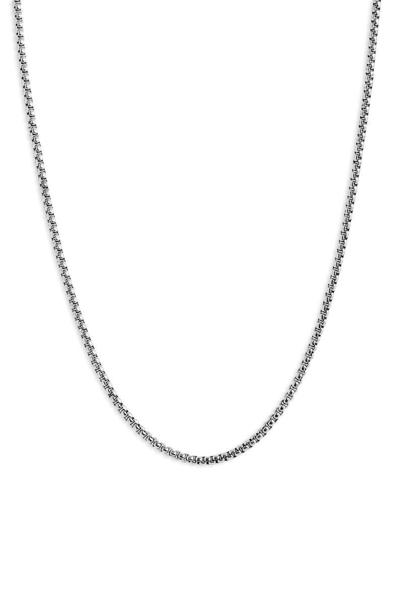 NORDSTROM Small Box Chain Necklace, Main, color, SILVER