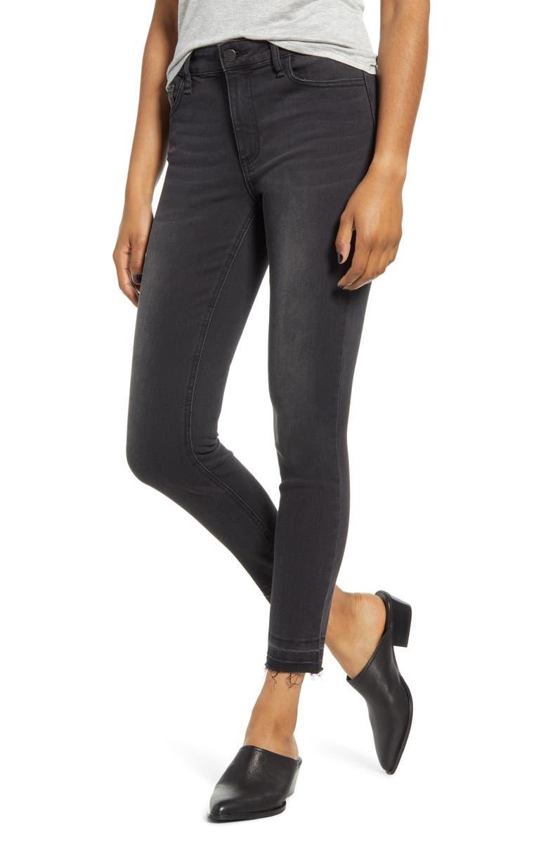 MADE IN BLUE Release Hem Skinny Jeans, Main, color, WASHED BLACK