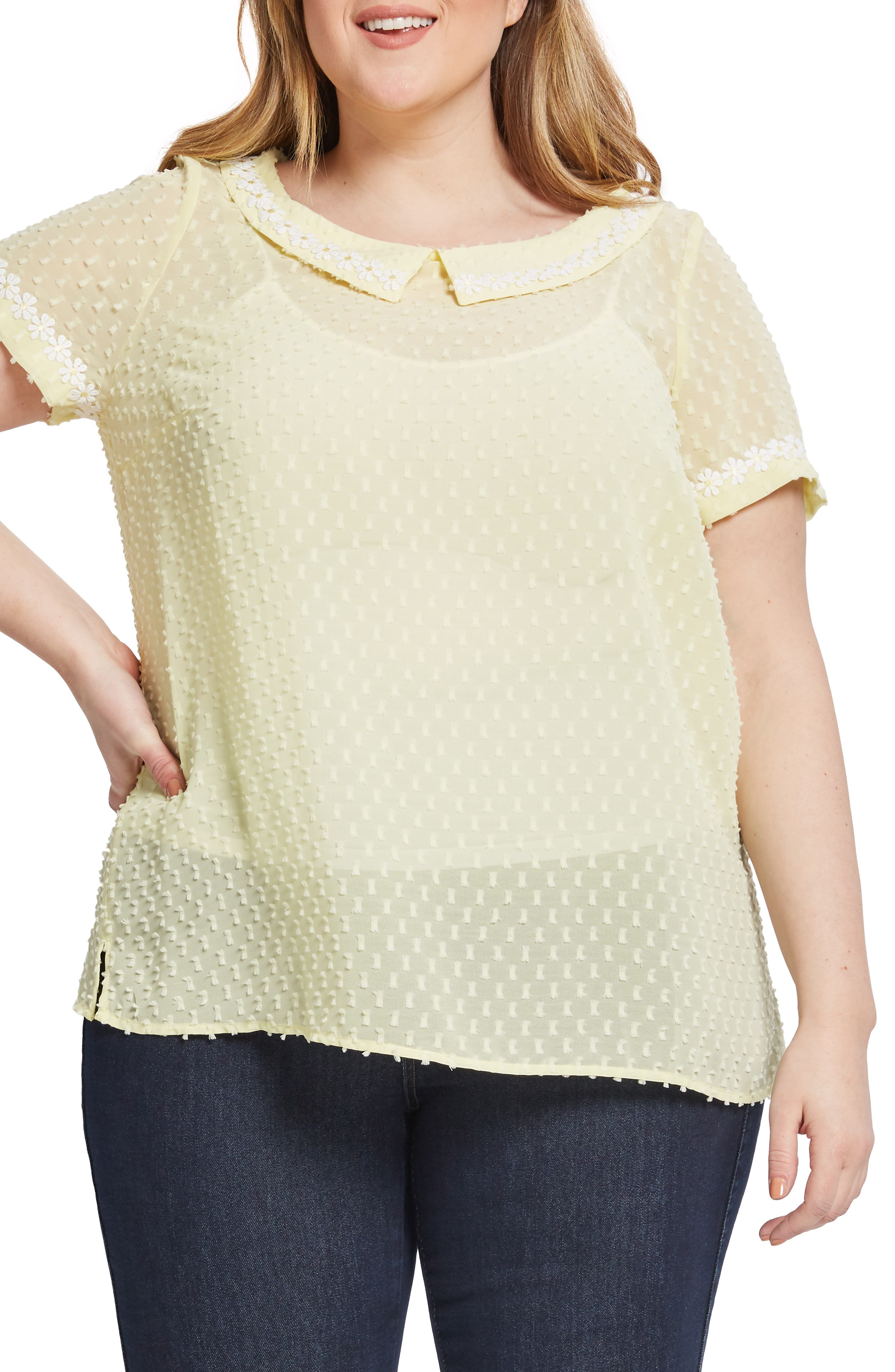 ,                             Daisy Trim Blouse,                             Alternate thumbnail 3, color,                             YELLOW