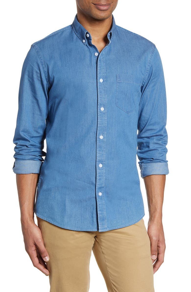 NORDSTROM MEN'S SHOP Slim Fit Chambray Button-Down Shirt, Main, color, BLUE HEAVEN CHAMBRAY