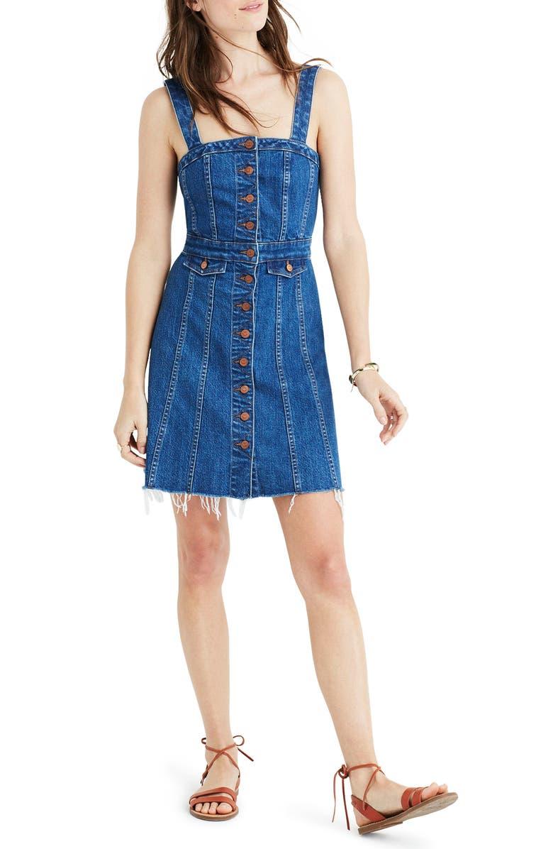 MADEWELL Raw Edge Denim Dress, Main, color, 400