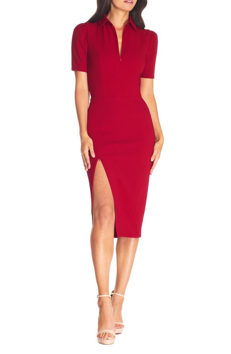 DRESS THE POPULATION Gloria Front Zip Sheath Dress, Main, color, GARNET