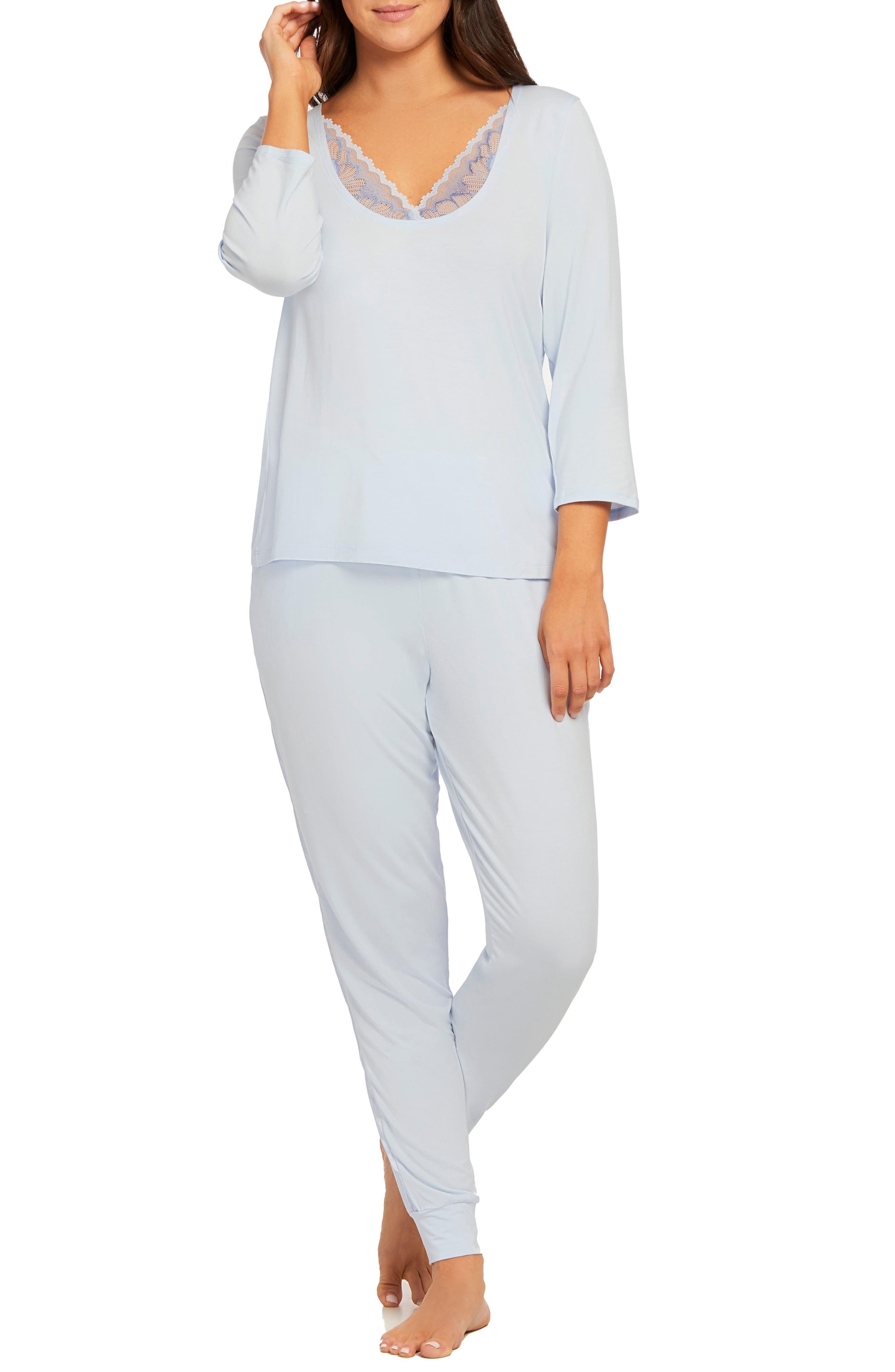 Fleur'T Lace & Charmeuse Detail Pajamas