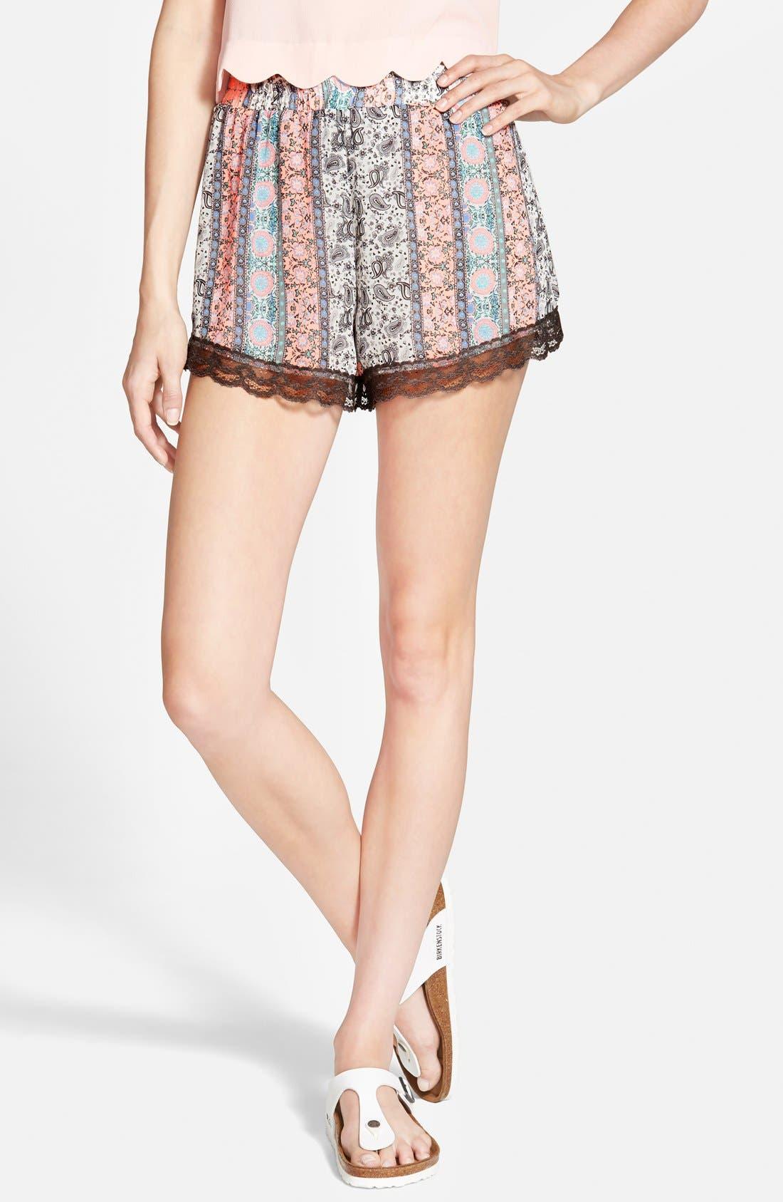 ,                             Lace Trim Floral Print Shorts,                             Main thumbnail 36, color,                             950