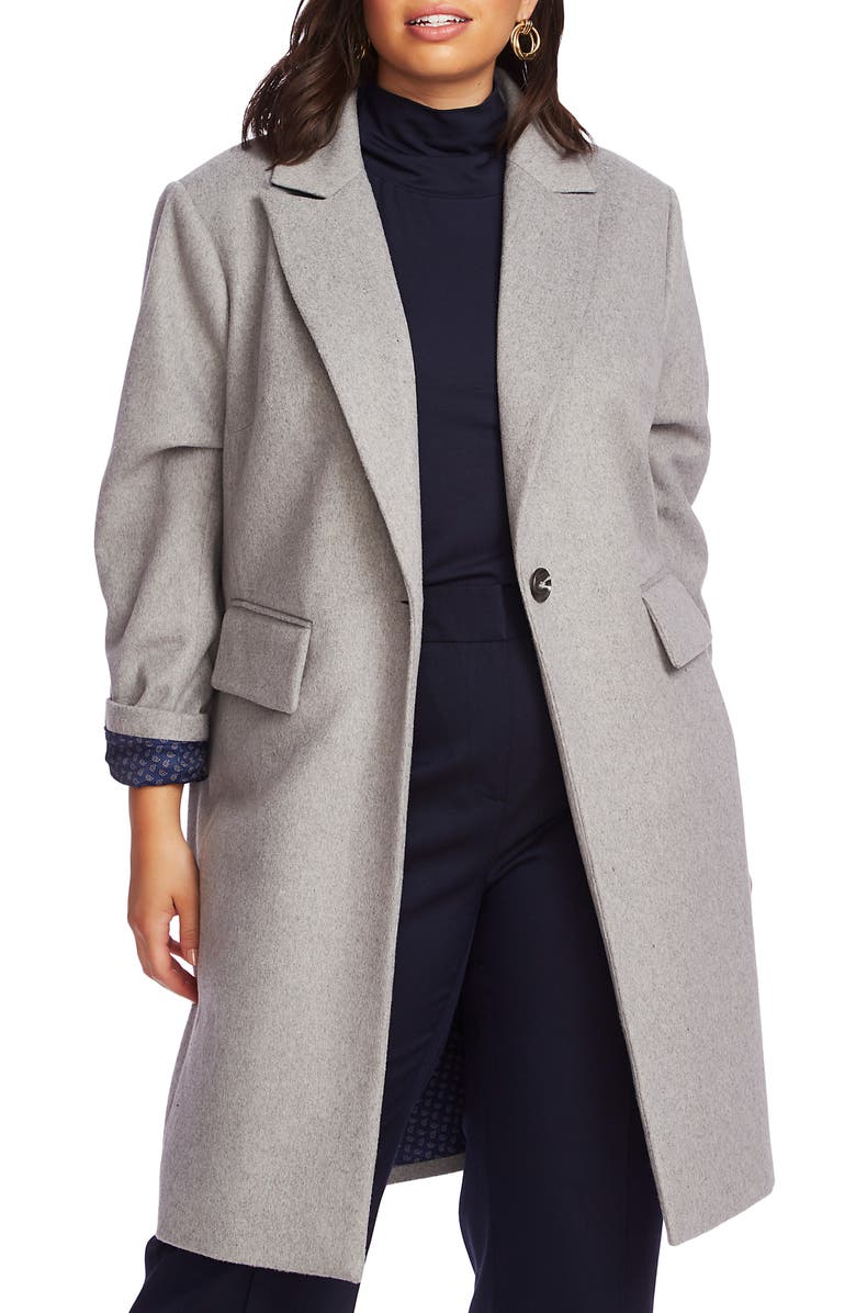 COURT & ROWE One-Button Plush Topper Coat, Main, color, SILVER HTHR