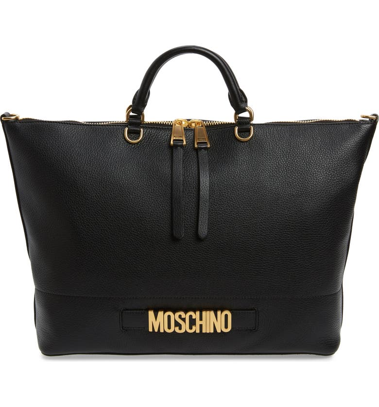MOSCHINO Logo Pebbled Leather Tote, Main, color, BLACK