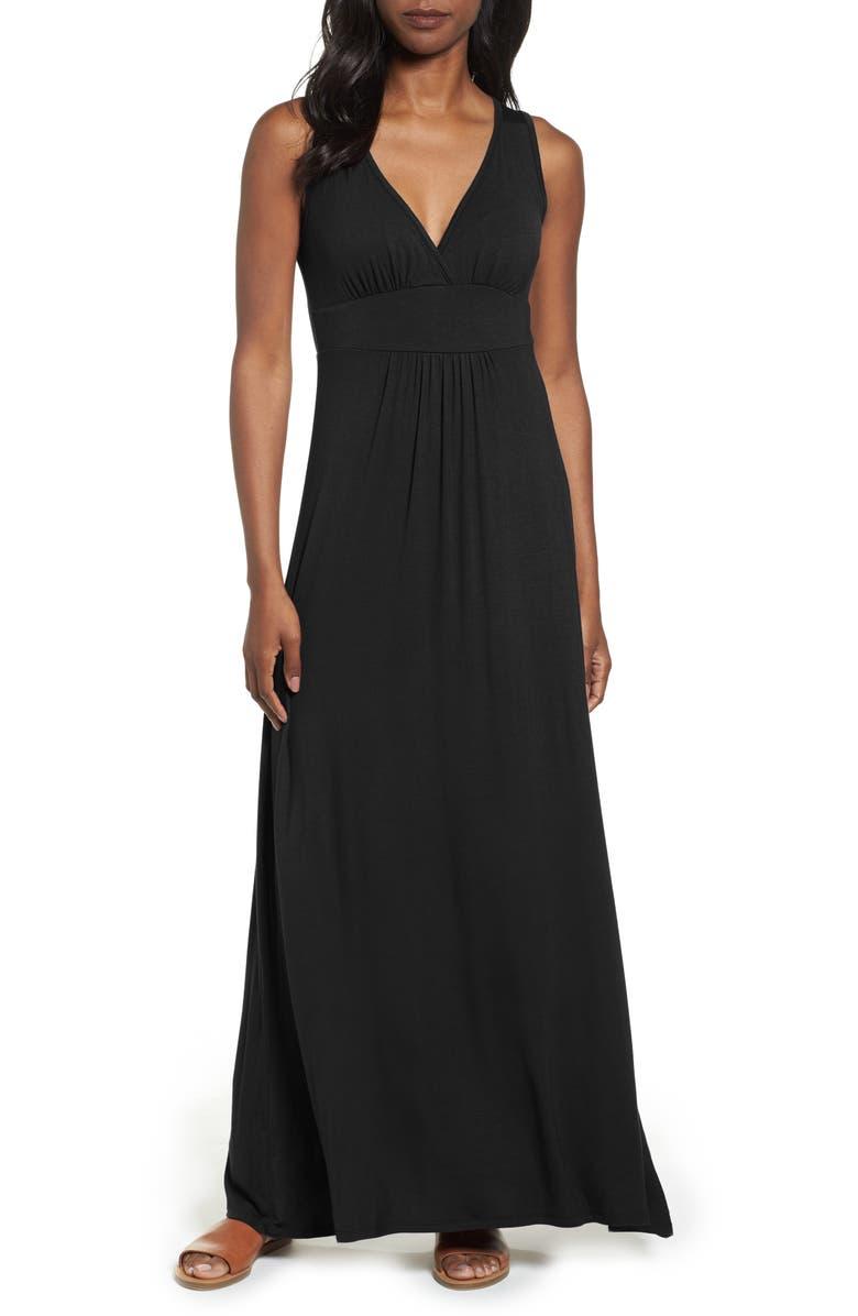 LOVEAPPELLA V-Neck Jersey Maxi Dress, Main, color, BLACK
