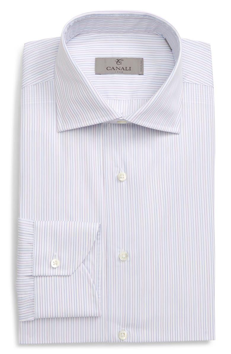 CANALI Slim Fit Stripe Dress Shirt, Main, color, LIGHT BLUE