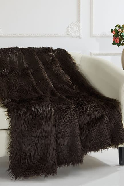 "Image of Chic Home Bedding Krista Shaggy Faux Fur Blanket - 50"" x 60"" - Brown"