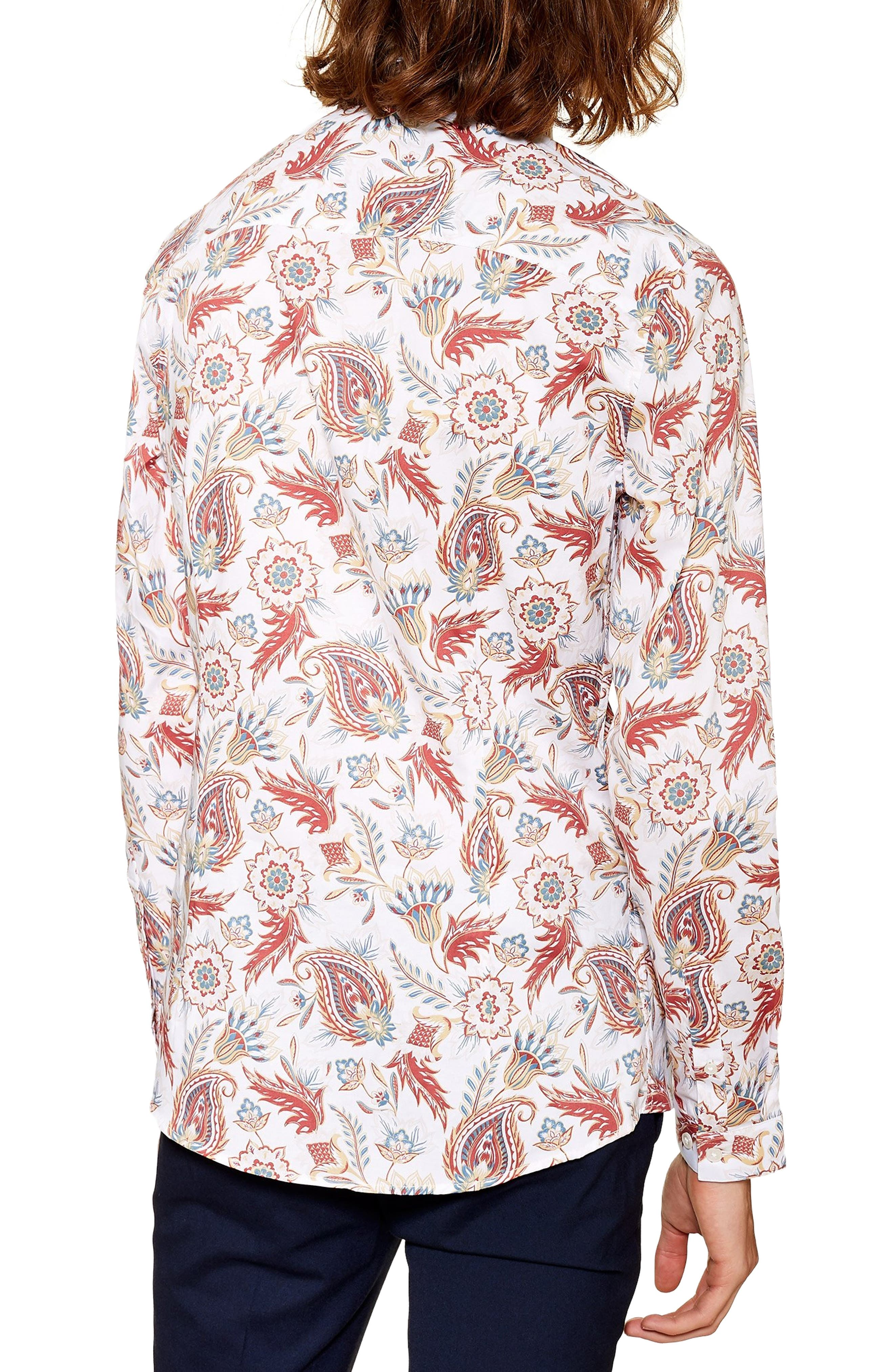 ,                             Classic Fit Long Sleeve Light Paisley Shirt,                             Alternate thumbnail 3, color,                             100