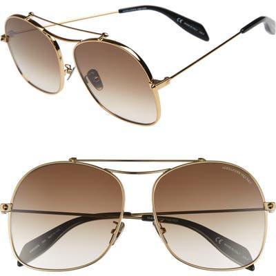 Alexander Mcqueen 5m Aviator Sunglasses - Gold