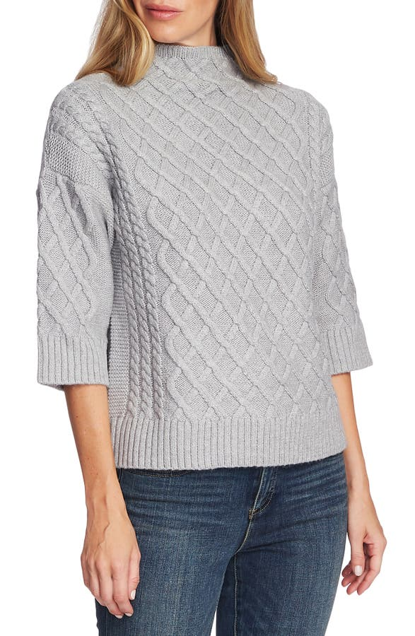 Vince Camuto Knits CHUNKY CABLE KNIT FUNNEL NECK SWEATER