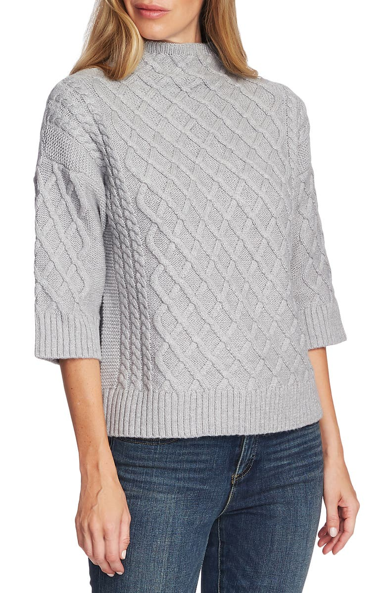 VINCE CAMUTO Chunky Cable Knit Funnel Neck Sweater, Main, color, LIGHT HEATHER GREY