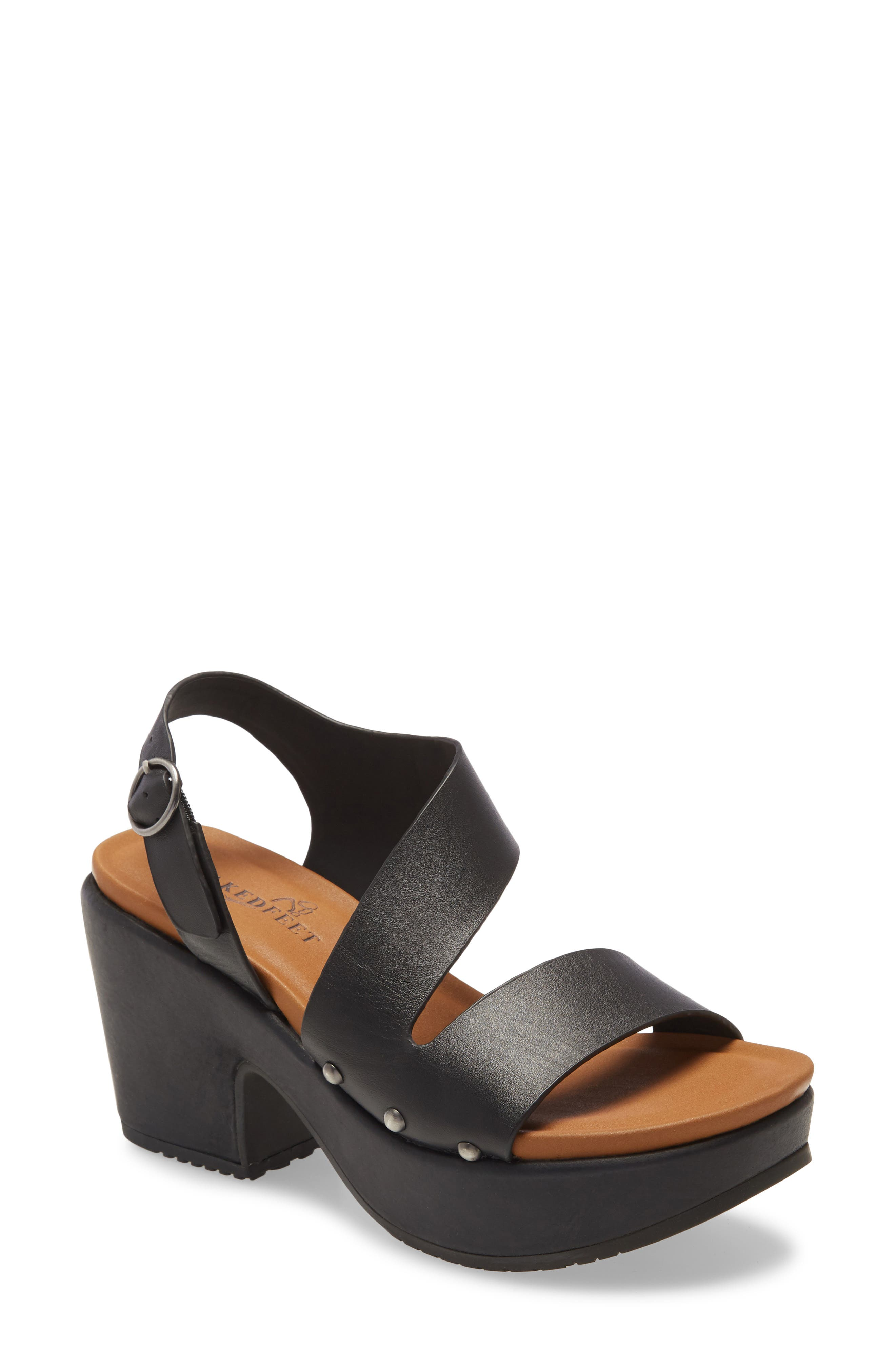 Slanted straps and dome studs define a comfortable padded sandal that\\\'s lifted by a chunky platform and heel for \\\'70s flair. Style Name: Naked Feet Dasa Platform Sandal (Women). Style Number: 6042920. Available in stores.
