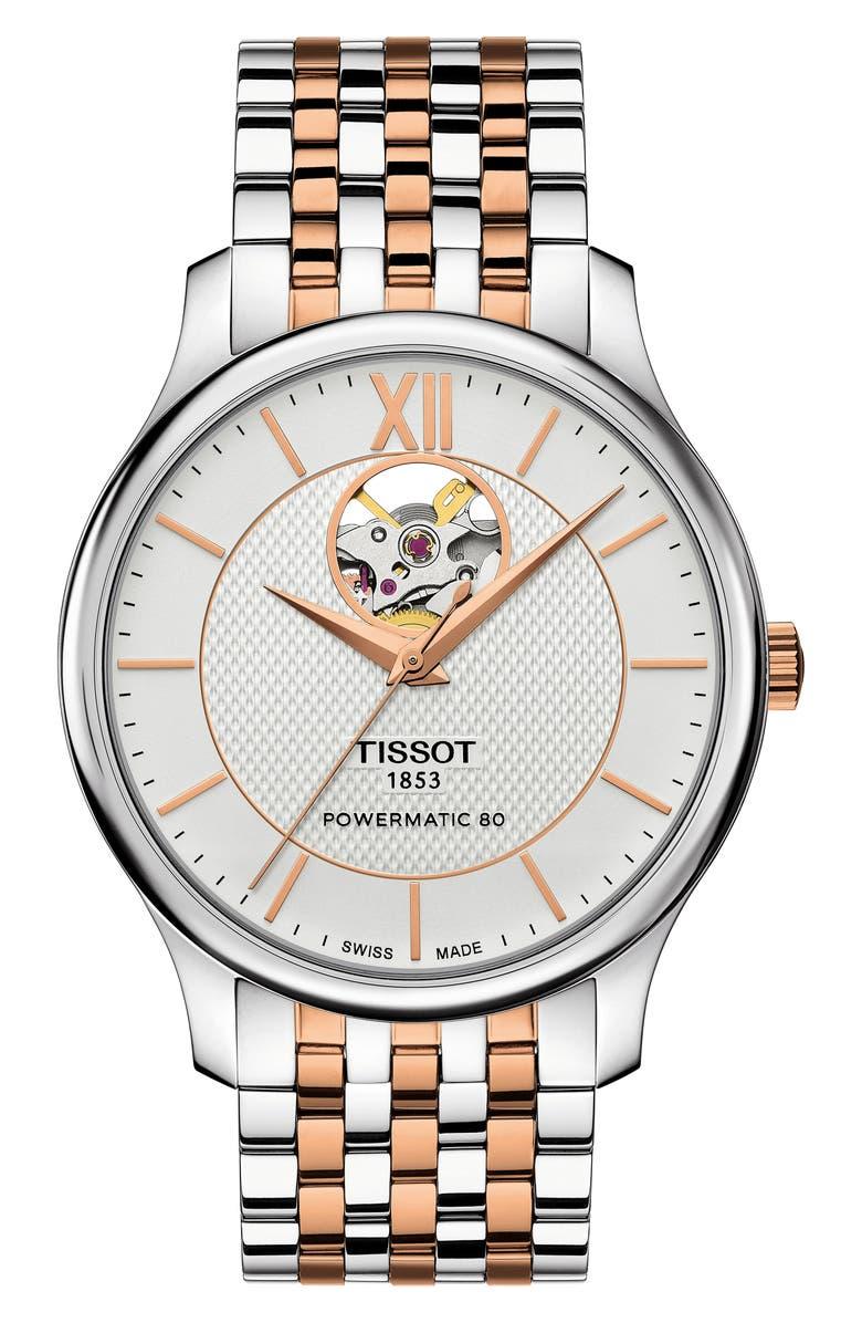 TISSOT Tradition Bracelet Watch, 40mm, Main, color, SILVER/ ROSE GOLD