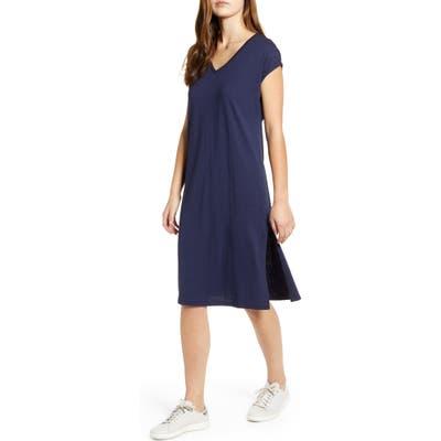 Petite Caslon Pocket T-Shirt Dress, Blue