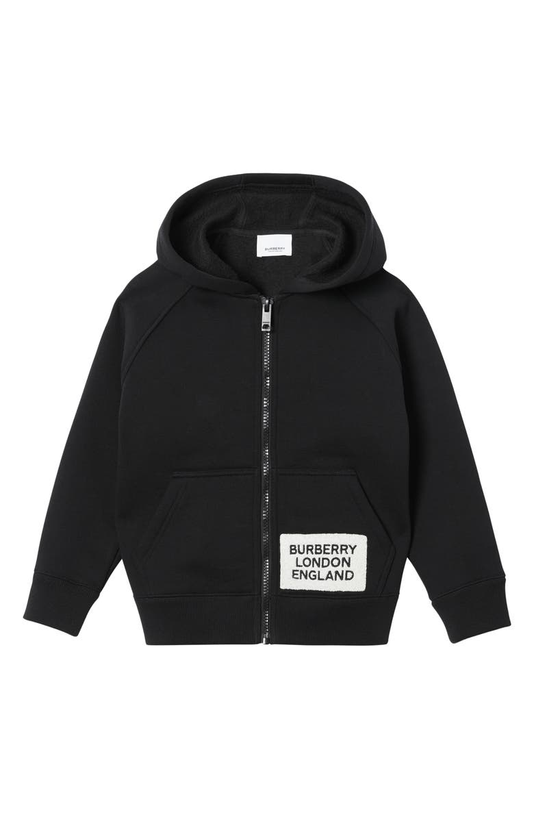 BURBERRY Luther Zip Hoodie, Main, color, BLACK