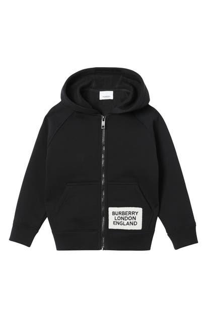 Burberry Kids' Boy's Zip-up Hooded Jacket W/ Logo Patch In Black