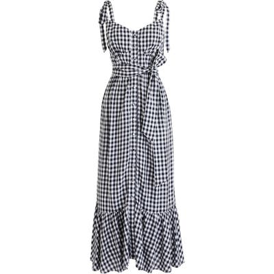 J.crew Ruffle Button Front Gingham Midi Dress, Blue