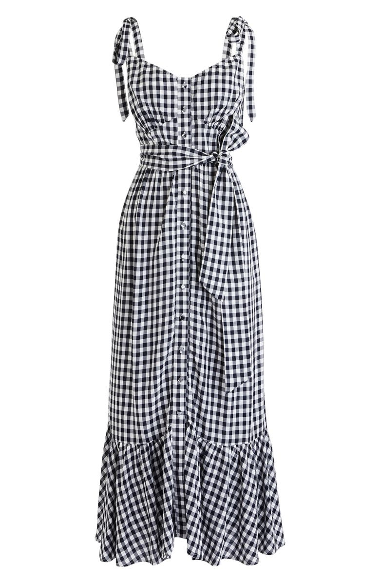 J.CREW Ruffle Button Front Gingham Midi Dress, Main, color, WHITE NAVY