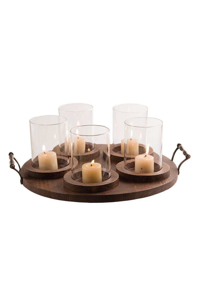 FORESIDE Pillar Candleholder Tray, Main, color, BROWN