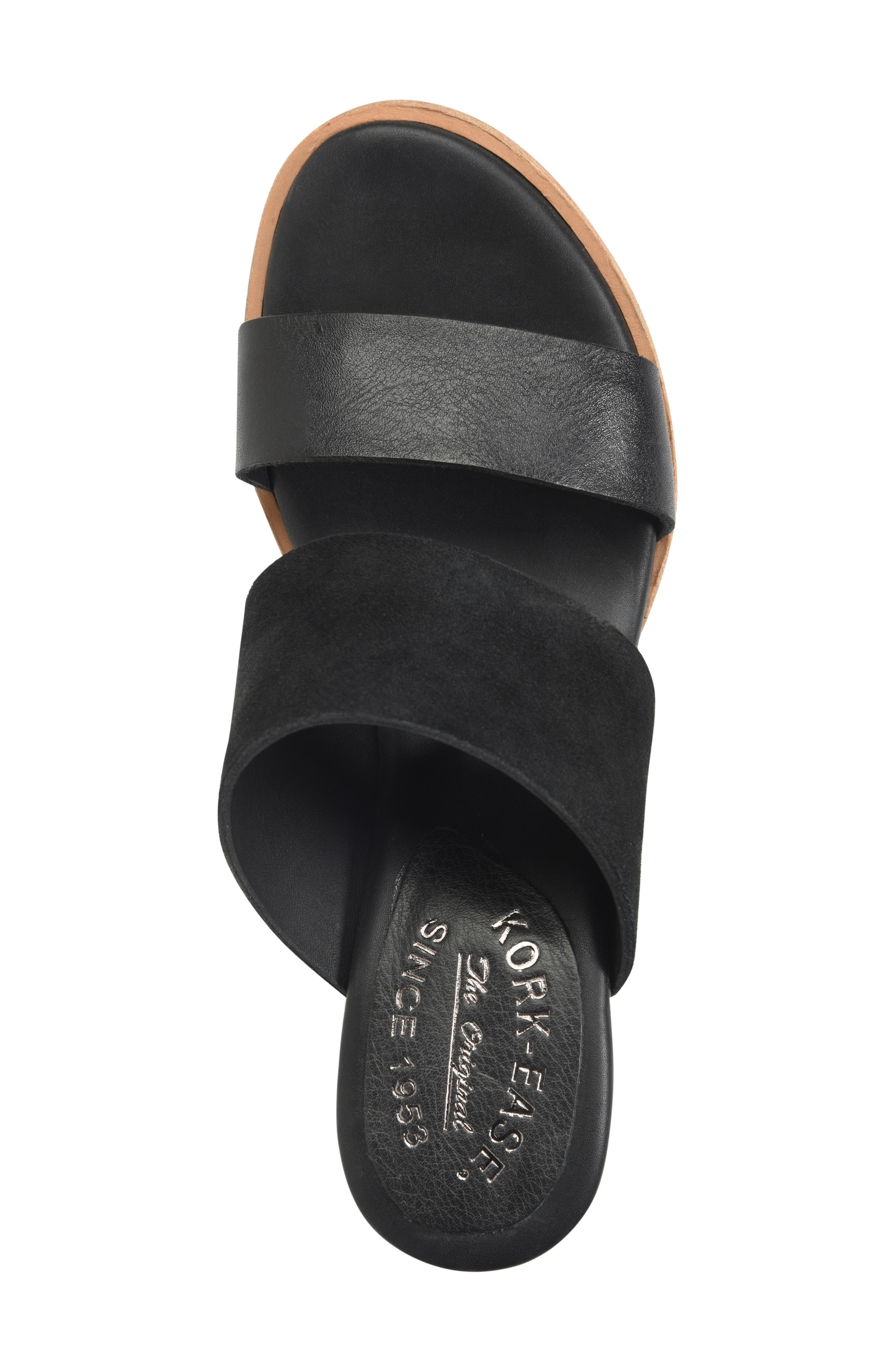 ,                             Gorrie Slide Sandal,                             Alternate thumbnail 5, color,                             BLACK/ BLACK LEATHER/ SUEDE