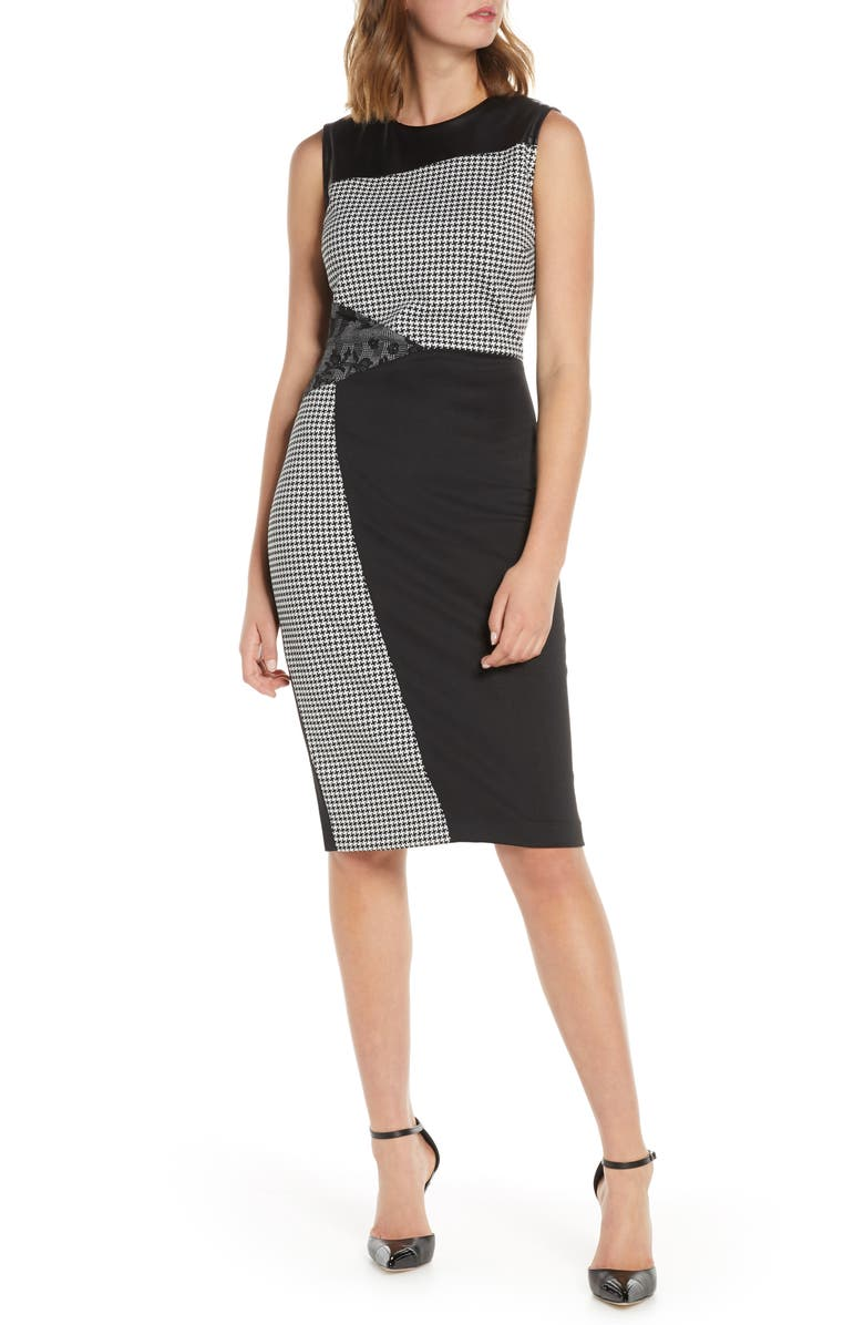 FOREST LILY Mixed Knit Sheath Dress, Main, color, BLACK