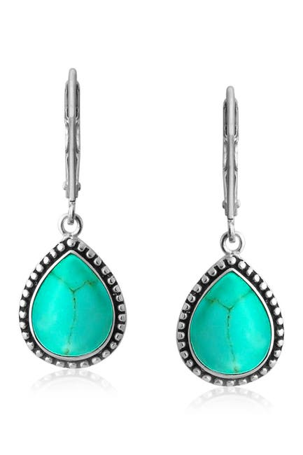 Image of Bling Jewelry Sterling Silver Simulated Turquoise Dashing Earrings