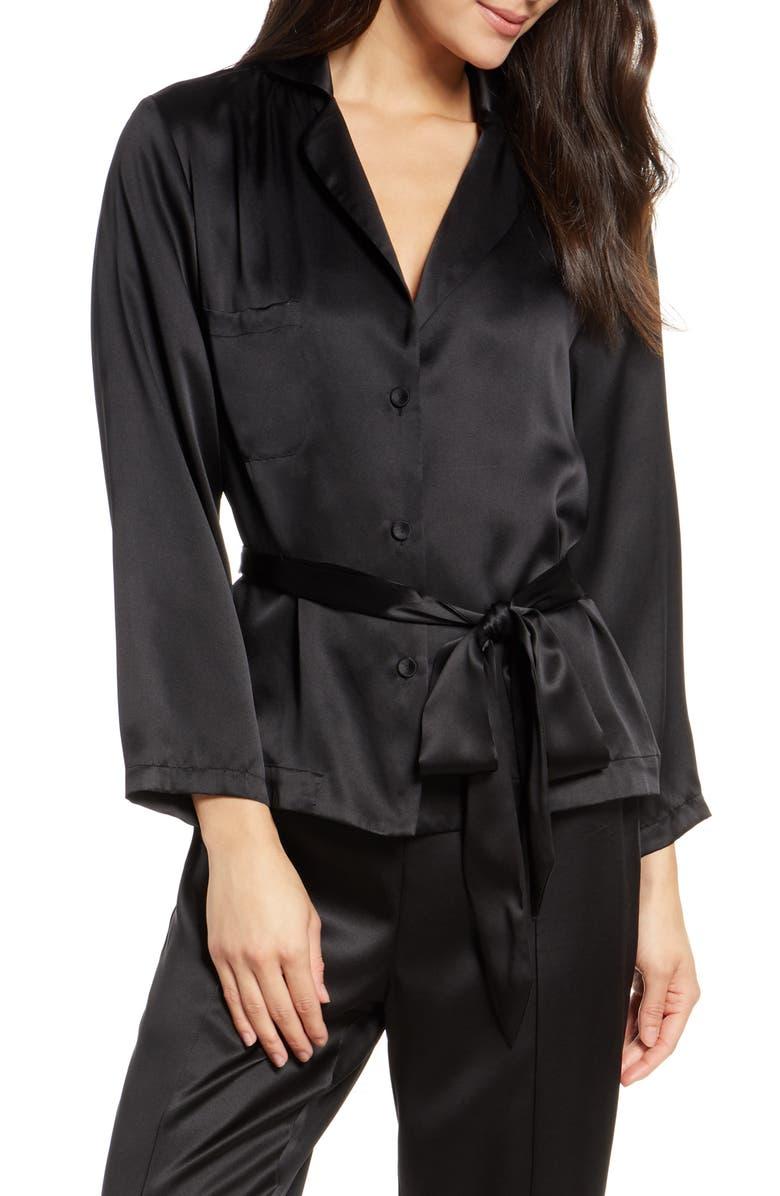 THISTLE & SPIRE Silk Lounge Top, Main, color, BLACK
