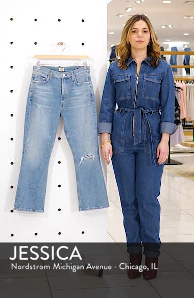 Demy Ripped High Waist Crop Flare Jeans, sales video thumbnail