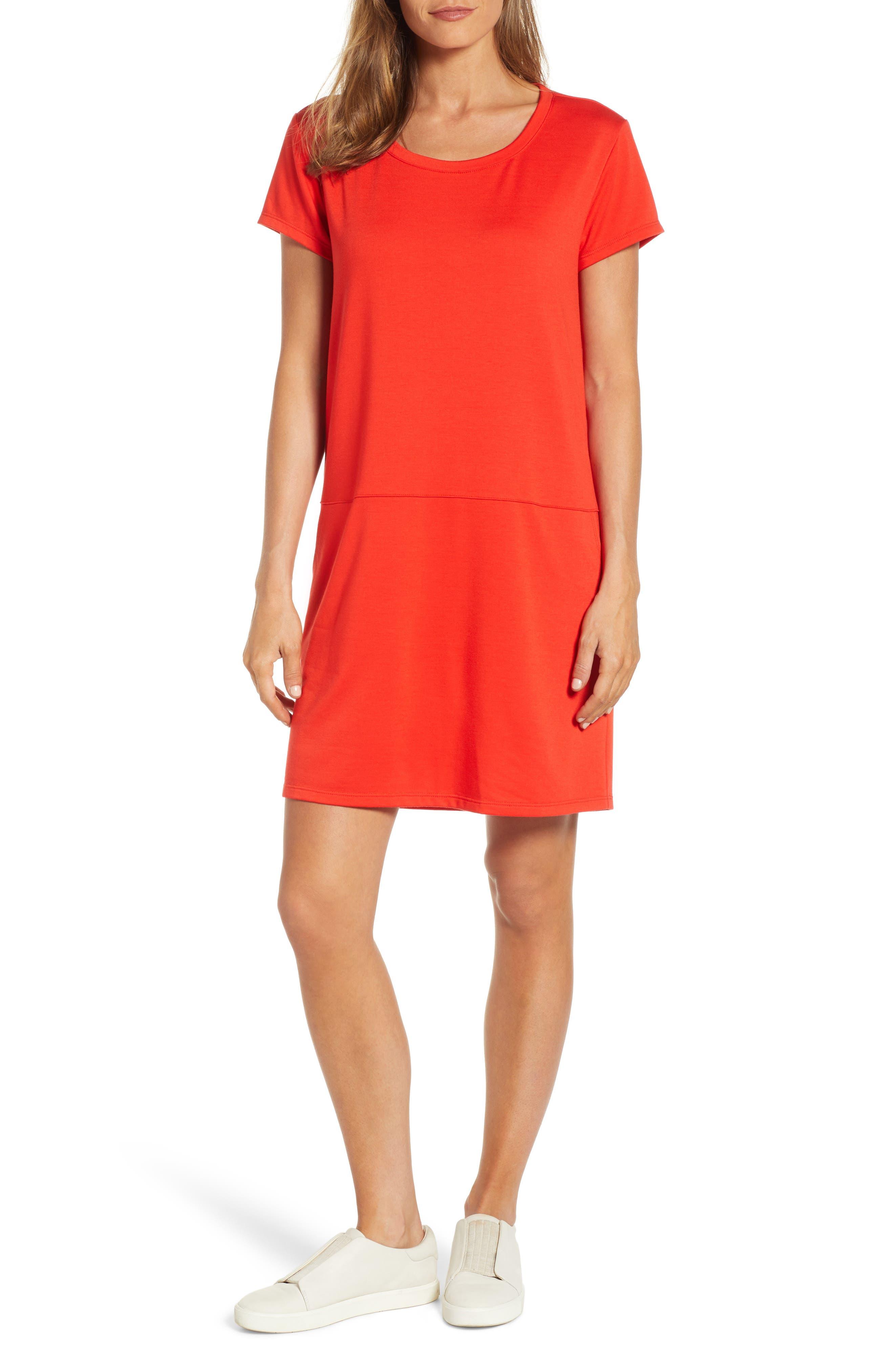 Caslon Knit Shift Dress, Red