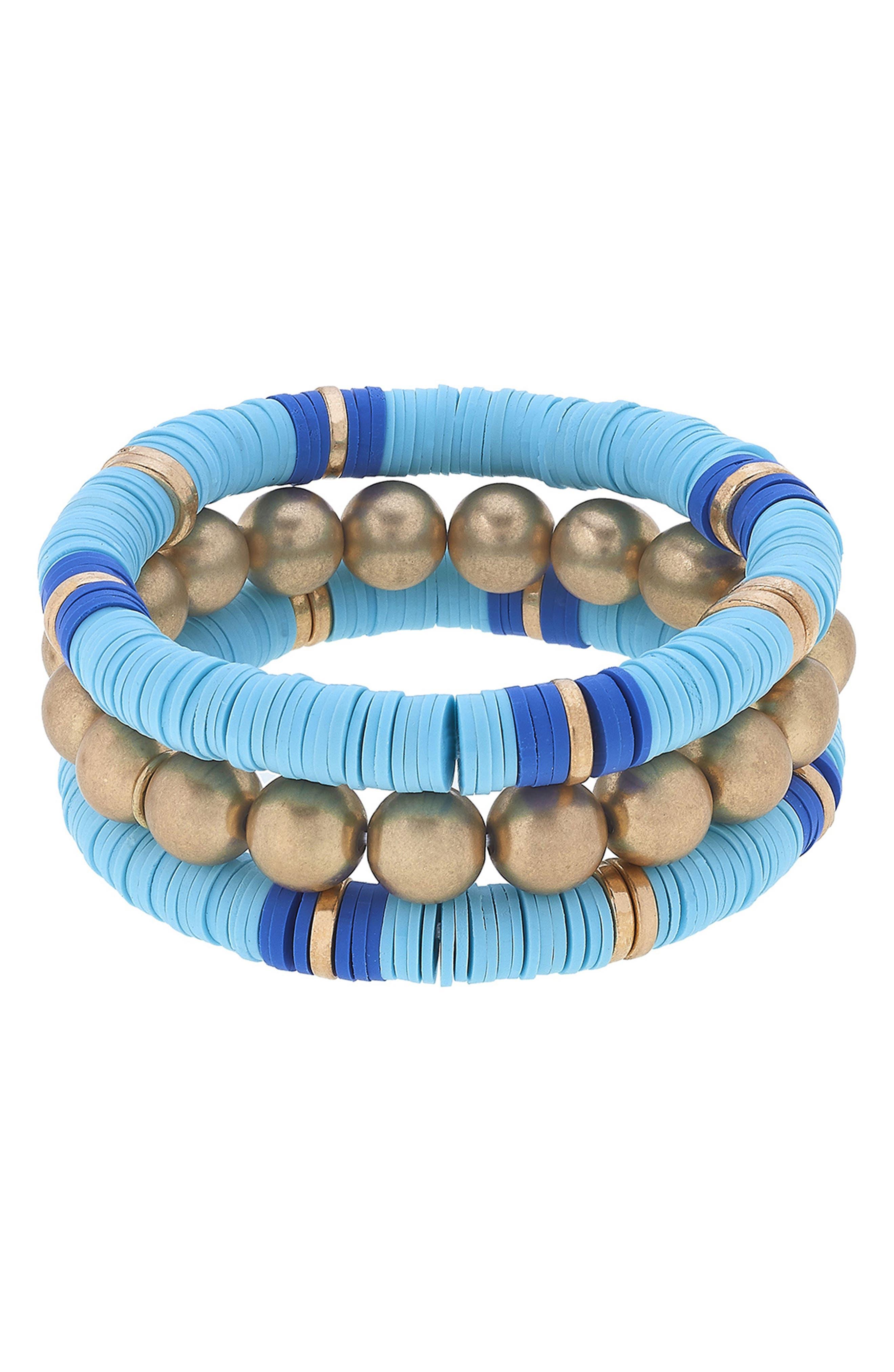 Emberly Set Of 3 Beaded Stacking Bracelets
