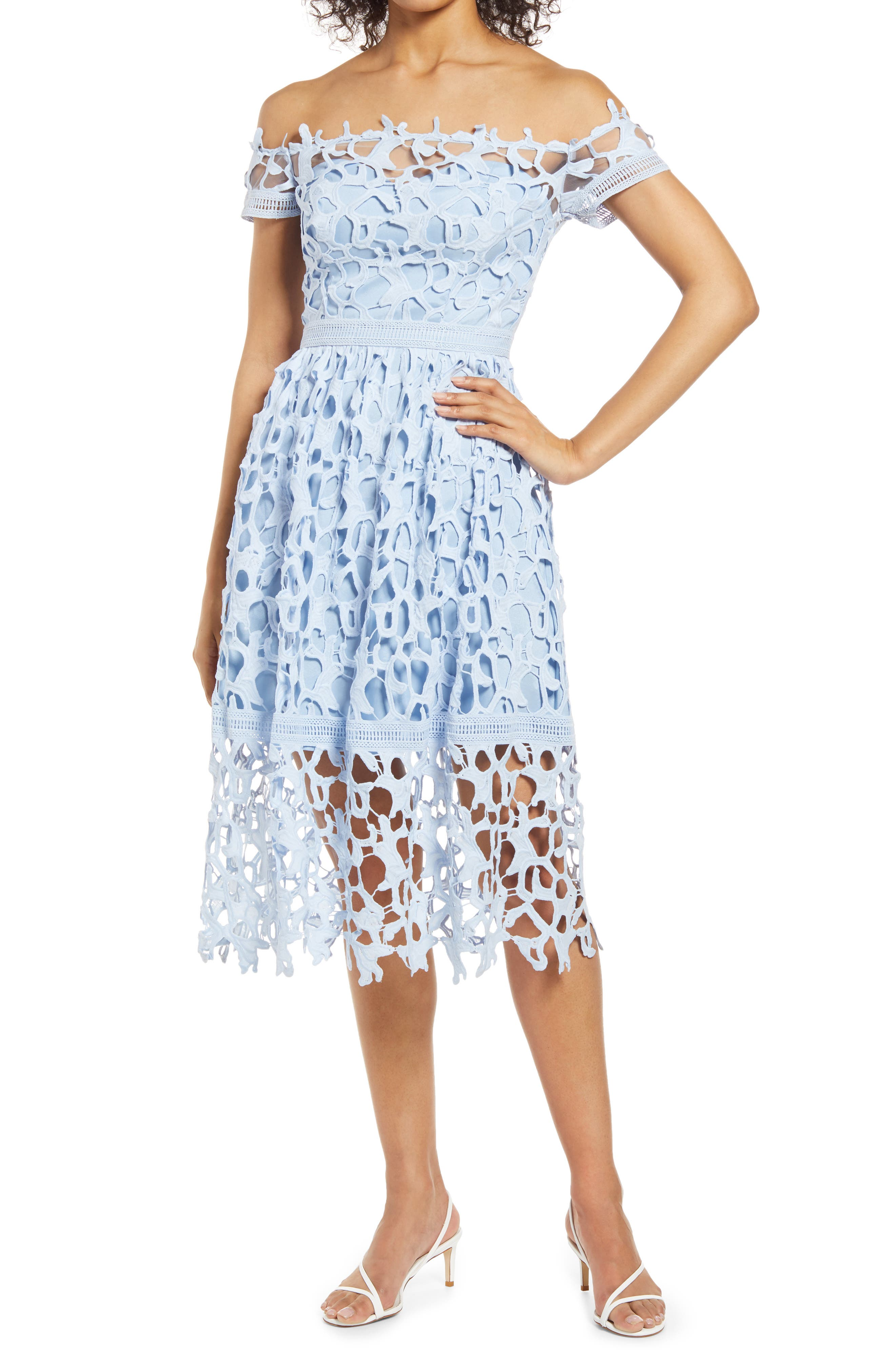 Bardot Off The Shoulder Lace A-Line Dress