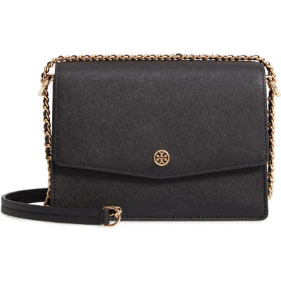 Tory Burch Robinson Leather Convertible Shoulder Bag - Black
