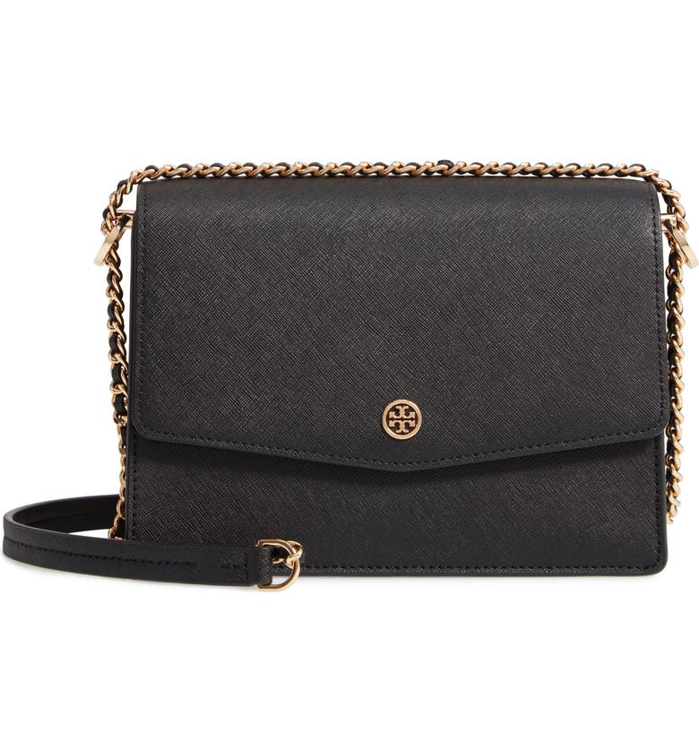 TORY BURCH Robinson Leather Convertible Shoulder Bag, Main, color, BLACK