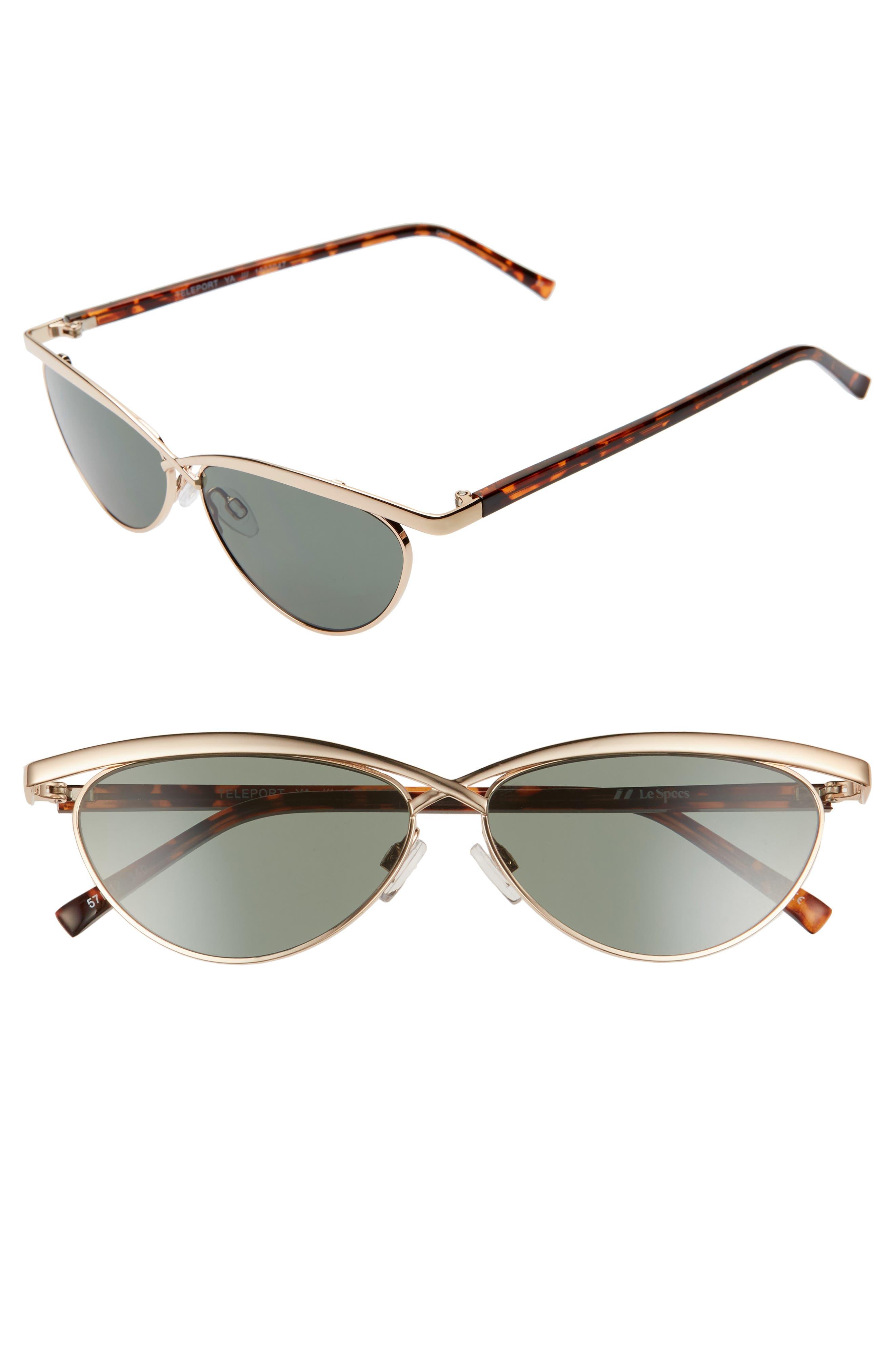 Le Specs Teleport Ya 57Mm Cat Eye Sunglasses - Gold/ Grey