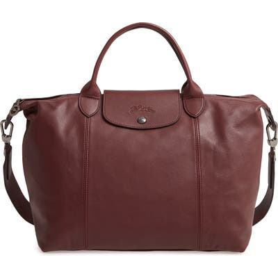 Longchamp Medium Le Pliage Cuir Leather Top Handle Tote - Burgundy