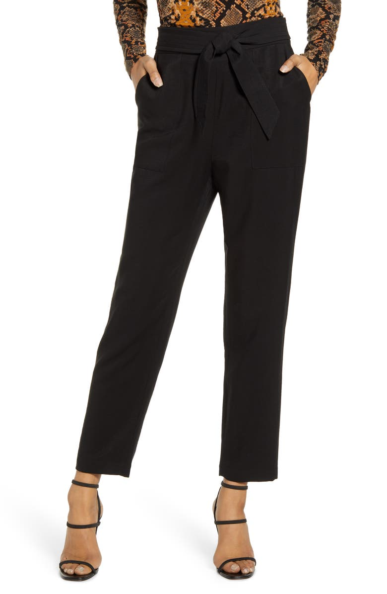 LEITH Tie Waist Utility Pants, Main, color, BLACK