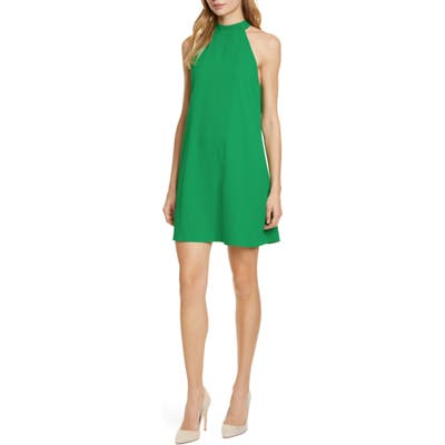 Alice + Olivia Susanna Mock Neck Sleeveless Swing Dress, Green