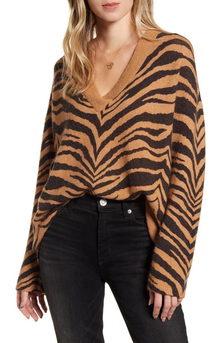 RAILS Eleanor Tiger Stripe Wool & Cashmere Blend V-Neck Sweater, Main, color, 200