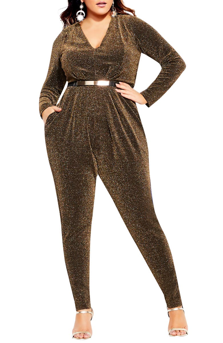 CITY CHIC Glitter Long Sleeve Jumpsuit, Main, color, 001