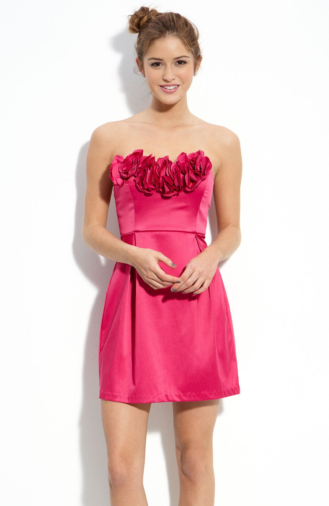 Trixxi Flower Petal Strapless Dress