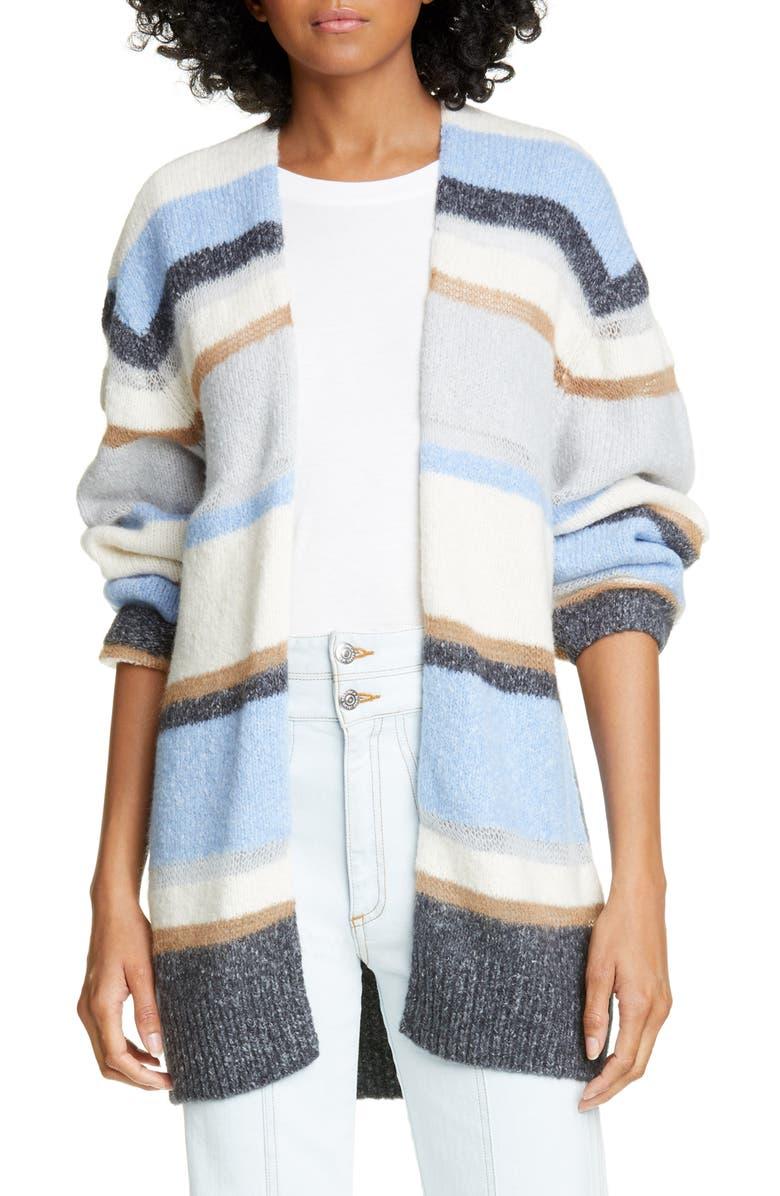 VERONICA BEARD Elizabeth Stripe Cardigan, Main, color, BLUE MULTI